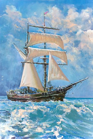 Foto de Drawing of boat is under sail, painting - Imagen libre de derechos