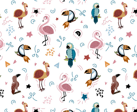 Vector seamless pattern with cute African birds -  parrot, toucan, flamingo - on white, endless background - design of clothes, kids textiles, prints, posters, greeting cards, flat