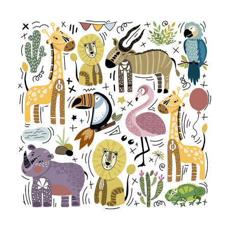 Collection of cute stylized African animals arranged in square. Elements on white background. Print design, cover, poster for children room. Vector illustration, flat and hand drawing.