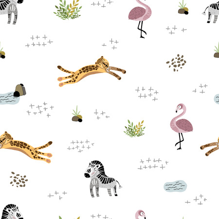 Vector seamless pattern with cute African animals and birds on white background, flat and hand drawn style, endless texture - for design of clothes, home textiles, posters, greeting cards