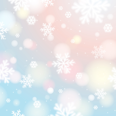 Illustration for Light background with bokeh and blurred snowflakes, vector illustration - Royalty Free Image