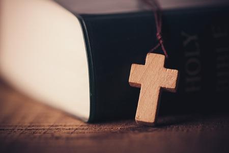 Photo pour Cross With Holy Bible - image libre de droit