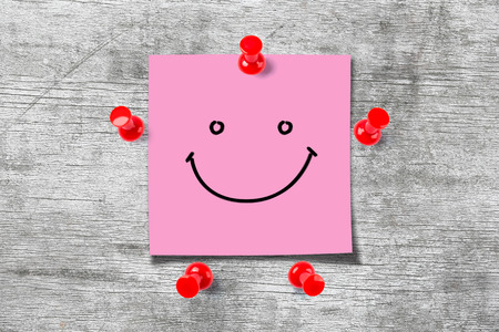 Photo for Happy Sticky Note - Royalty Free Image