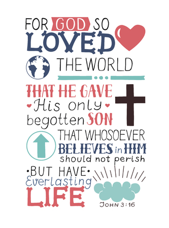 Illustration for Golden Bible verse John 3 16 For God so loved the world, made hand lettering with heart and cross. Biblical background. Christian poster. Modern calligraphy. Graphics. Scripture. New testament - Royalty Free Image