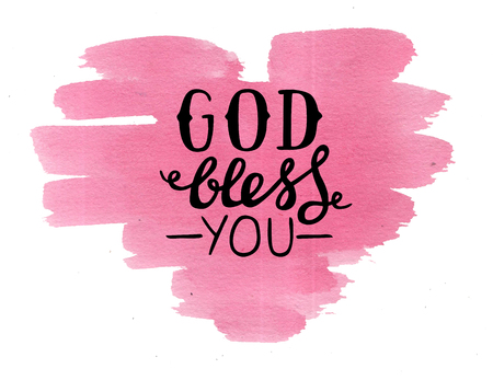 Foto de Hand lettering God bless you made on pink watercolor heart. Christian poster. Card. Congratulations. Modern calligraphy. Scripture print - Imagen libre de derechos