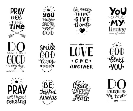 Ilustración de Set of 12 Hand lettering christian quotesYou blessings, Do good every day, Grace, mercy,peace, Love one another, Pray,God bless you, Give thanks. - Imagen libre de derechos