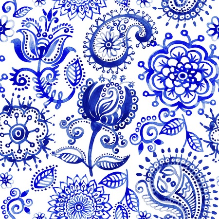 Illustration for Watercolor pattern in Paisley style - Royalty Free Image
