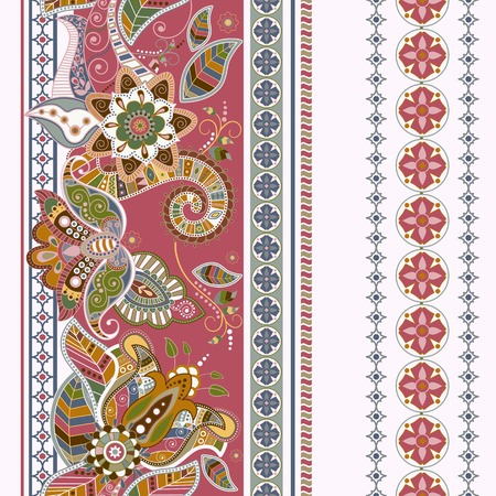 Illustration for Striped seamless ethnic pattern. Paisley ornamental wallpaper - Royalty Free Image