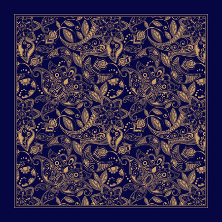 Illustration pour Ornamental floral pattern, design for pocket square, textile, silk shawl - image libre de droit