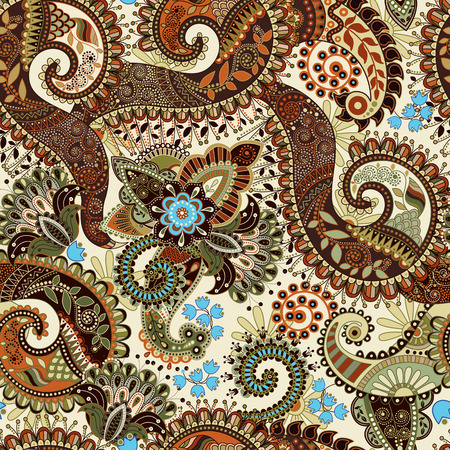 Ilustración de Paisley seamless pattern, floral wallpaper. Fantasy background - Imagen libre de derechos