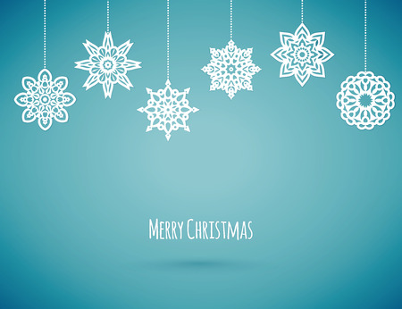 Illustration for Merry christmas card with snowflakes, vector illustration - Royalty Free Image