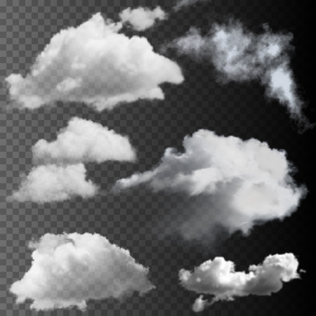 Illustration pour Big set of transparent clouds. Realistic vector design elements. - image libre de droit
