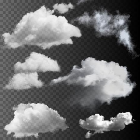 Illustration for Big set of transparent clouds. Realistic vector design elements. - Royalty Free Image