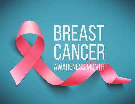 Ilustración de Realistic pink ribbon, breast cancer awareness symbol, vector illustration - Imagen libre de derechos