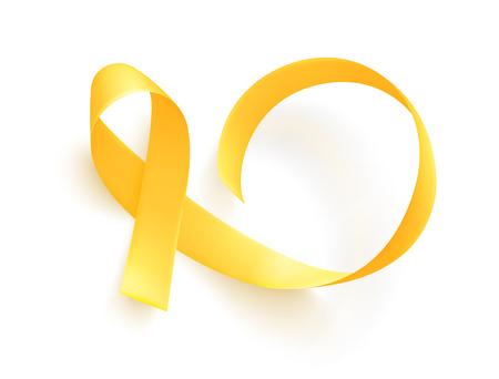 Ilustración de Realistic gold ribbon. World childhood cancer symbol, vector illustration. Poster for cancer awareness month. - Imagen libre de derechos