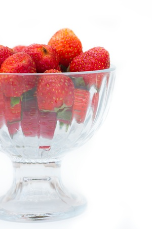 Photo for Strawberries in glass bowl on white background, selective focus - Royalty Free Image
