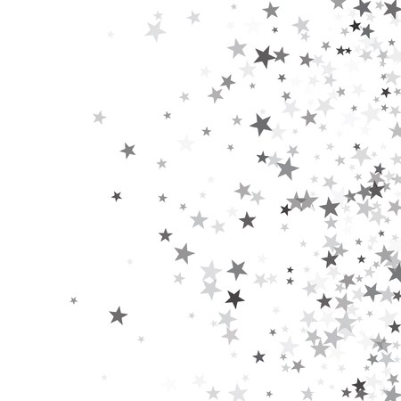 Illustration for Luxurious silver glitter falling stars vector template for birthday party, wedding invitation card, flyer, voucher, holiday banner.  Silver sparkle stars confetti glitter on white. - Royalty Free Image