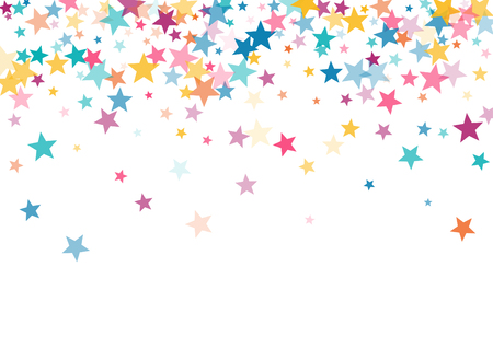 Ilustración de Pink blue yellow stars confetti falling holidays vector background. Magic shining cyan blue pink gold flying stars isolated on white border. Sparkles festive birthday party background graphic design. - Imagen libre de derechos