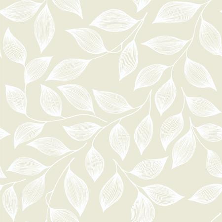 Ilustración de Wrapping tea leaves organic seamless pattern vector. Trendy tea plant bush white leaves floral fabric ornament. Herbal sketchy floral seamless pattern background. - Imagen libre de derechos