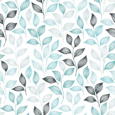 Ilustración de Packaging tea leaves pattern seamless vector. Minimal tea plant bush leaves floral fabric design. Herbal sketchy seamless background pattern with nature elements. Colored summer foliage wallpaper. - Imagen libre de derechos