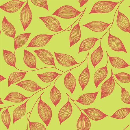 Ilustración de Wrapping tea leaves organic seamless pattern vector. Decorative tea plant bush red leaves floral fabric ornament. Herbal sketchy floral seamless pattern background. - Imagen libre de derechos