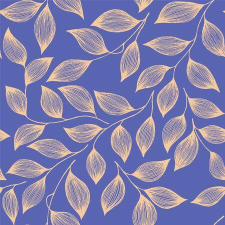 Ilustración de Tea leaves pattern seamless vector pattern. Decorative tea plant bush yellow leaves floral fabric ornament. Herbal sketchy repeating background pattern with nature elements. - Imagen libre de derechos