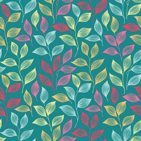 Ilustración de Packaging tea leaves pattern seamless vector. Minimal tea plant bush leaves floral fabric design. Herbal sketchy seamless background pattern with nature elements. Cartoon summer foliage wallpaper. - Imagen libre de derechos