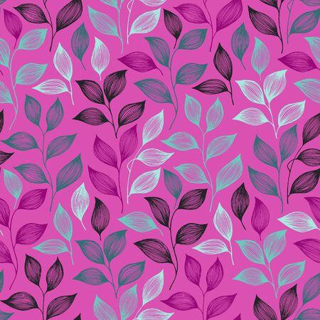 Ilustración de Packaging tea leaves pattern seamless vector. Minimal tea plant bush leaves floral fabric print. Herbal sketchy seamless background pattern with nature elements. Herbs summer foliage wallpaper. - Imagen libre de derechos