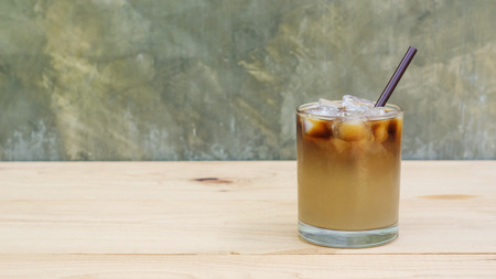 Photo for iced coffee on a wooden table. - Royalty Free Image