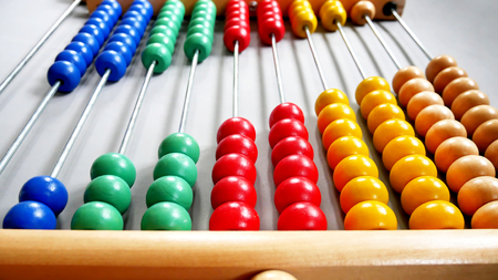 Photo for Perspective Abacus for Counting Practice on Gray Background - Royalty Free Image