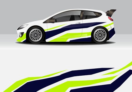 Illustration for car wrap with modern abstract background vector design - Royalty Free Image