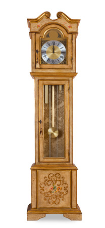 Foto de Old grandfather clock isolated on white background - Imagen libre de derechos