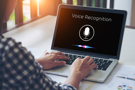 Photo for Voice recognition, Speech detect and deep learning concept. Application on mobile device screen. - Royalty Free Image