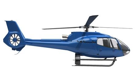 Foto de Modern blue helicopter on a white background - Imagen libre de derechos