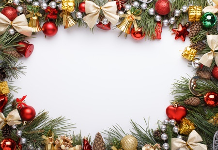 Foto de Christmas frame with Christmas ornaments and decorations - Imagen libre de derechos