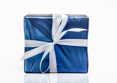 Photo for Blue gift box with ribbon - Royalty Free Image