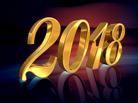 Foto de Gold 2018 Celebration Number, Golden 3D Numbers on a Festive Background, 2018 Happy New Year or Christmas Background Creative Greeting Card Design, for Flyers, Invitation, Posters, Brochure, Banners - Imagen libre de derechos