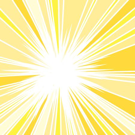 Illustration pour Hot and Glittering Summer Sun, Abstract Background of Sun Rays, Sunburst Background, Centered Yellow Orange Summer Sun Light Burst - image libre de droit