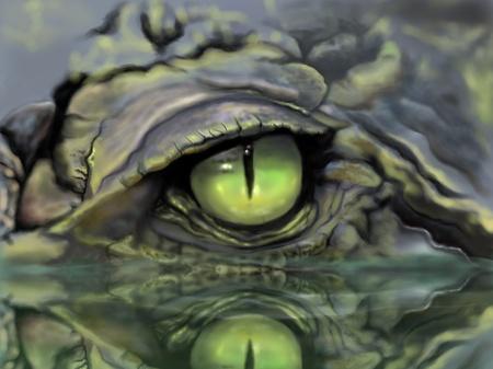 Sketch and drawing eye of crocodile