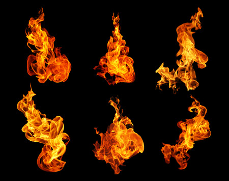 Foto de Fire flames collection isolated on black background - Imagen libre de derechos