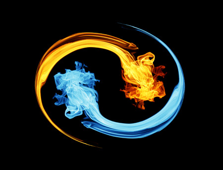Photo for Yin-yang symbol, ice and fire - Royalty Free Image