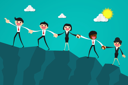Illustration pour Business people together trying to climb up mountain holding each others hands.Business teamwork concept. - image libre de droit