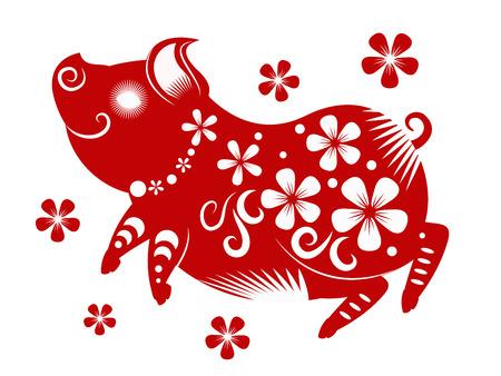 Ilustración de Happy chinese new year 2019. Year of the pig. vector illustration. - Imagen libre de derechos