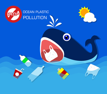 Illustration for Plastic pollution in ocean environmental problem.Whale eating plastic bags. - Royalty Free Image