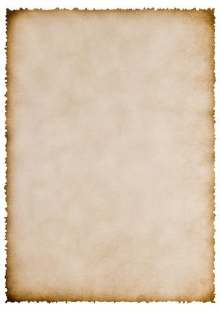 Foto de old burnt paper sheet isolated on white for your text - Imagen libre de derechos