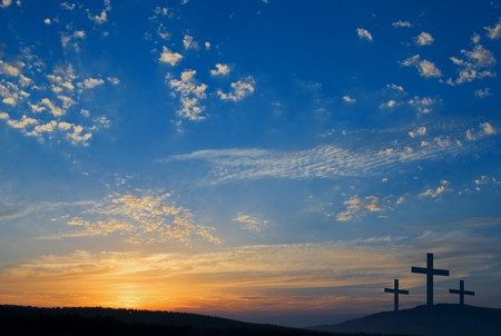 three crucifixions on the hill
