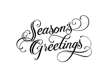 Illustration pour Seasons Greetings lettering. Handwritten text, calligraphy. For posters, banners, leaflets and brochures. - image libre de droit