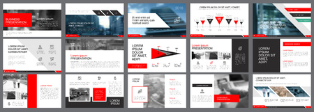 Illustration pour Red, white and black infographic elements for presentation - image libre de droit