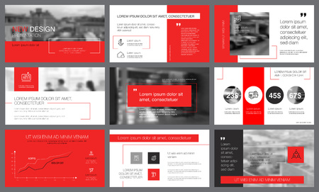 Ilustración de Red and grey infographic elements with toned photos. Annual report or presentation slide templates. City business concept can be used for marketing, advertising, promotion, layouts and poster design - Imagen libre de derechos