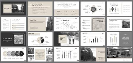 Illustration pour Black and grey marketing or planning concept infographics set. Business design elements for presentation slide templates. For corporate report, advertising, leaflet layout and poster design. - image libre de droit
